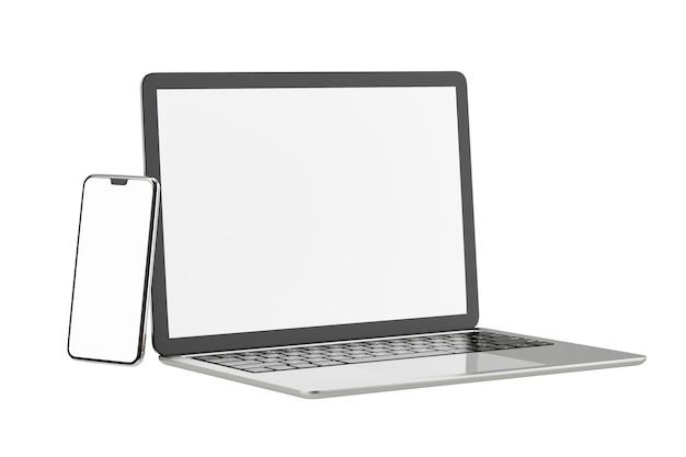 Obiekt renderowania ilustracji 3d. laptop komputer srebrny i czarny kolor z smartphone mobilny pusty ekran na białym tle. obraz ścieżki przycinającej.