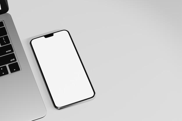 Obiekt renderowania ilustracji 3d. smartphone mobilny pusty ekran z klawiaturą laptopa na białym tle.