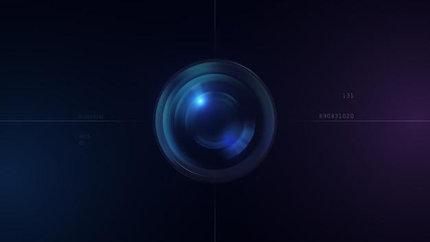 Obiektyw aparatu z odbiciem soczewki. renderowanie 3d