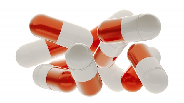 Objętych kapsułki pigułki, ilustracja medyczny. 3d renderingu pigułki odizolowywać na bielu. apteka otworzyła ikonę kapsułki. kapsułka medyczna z granulkami. lekarstwo na wirusa. spadające pigułki lub witaminy.