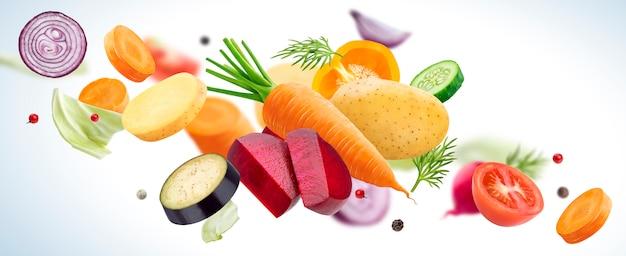 Objętych mix różnych warzyw na białym tle