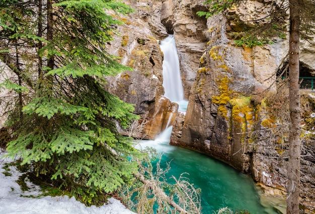 Obniża spadki przy johnston jarem w banff parku narodowym, alberta, kanada