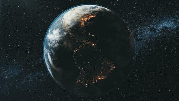 Obracająca się planeta ziemia oświetlona jasnym słońcem w ciemnej przestrzeni kosmicznej na tle drogi mlecznej pomniejsz. animacja renderowania 3d. koncepcja nauki i technologii. elementy tego nośnika dostarczone przez nasa