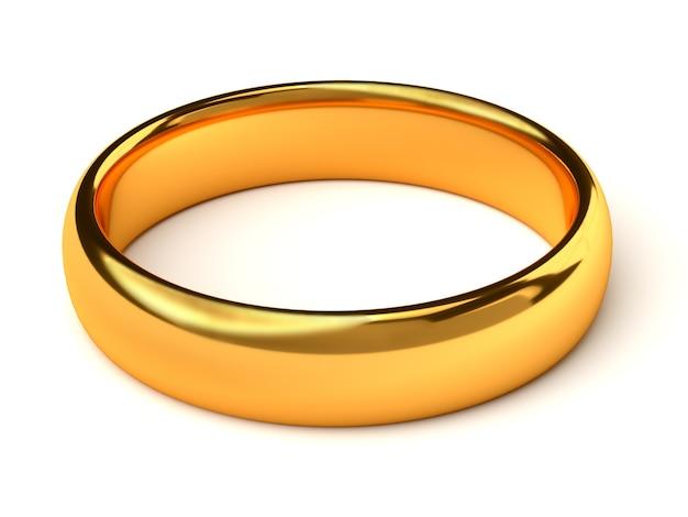 Obrączka ślubna złota na białym tle
