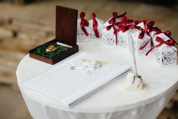 Obrączki i inne akcesoria zbliżenie podczas spotkania panny młodej. ślub.