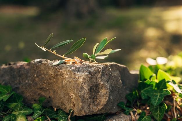 Obrączki ślubne na kamieniach w trawie