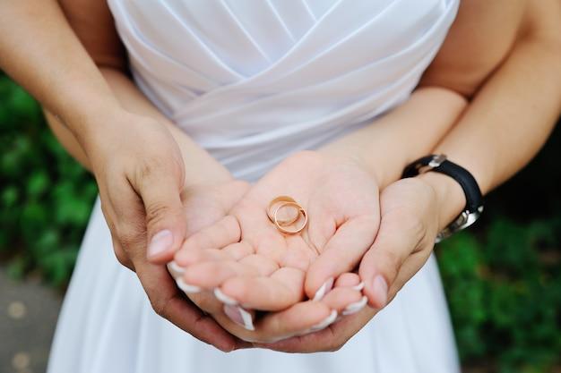 Obrączki ślubne w rękach nowożeńców