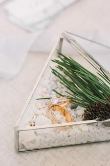 Obrączki w szklanym trójkątnym pudełku z białym piaskiem ozdobione sosną na stole