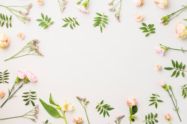 Obramowanie z różnych kwiatów i liści