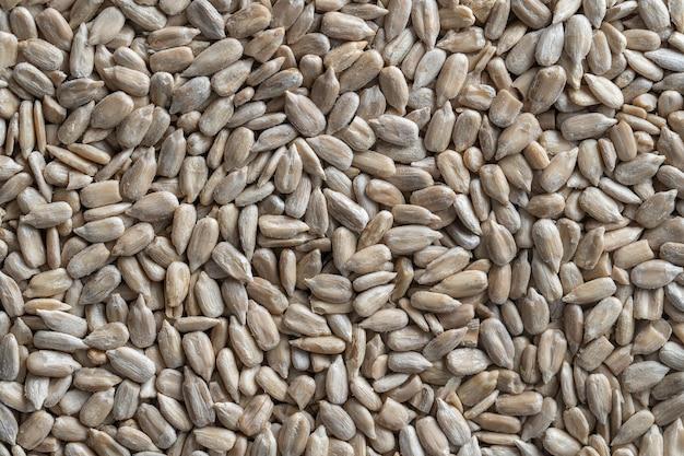 Obrane nasiona słonecznika stos tło, zbliżenie, widok z góry