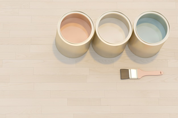 Obraz 3d renderowania serii słoików z kolorową farbą
