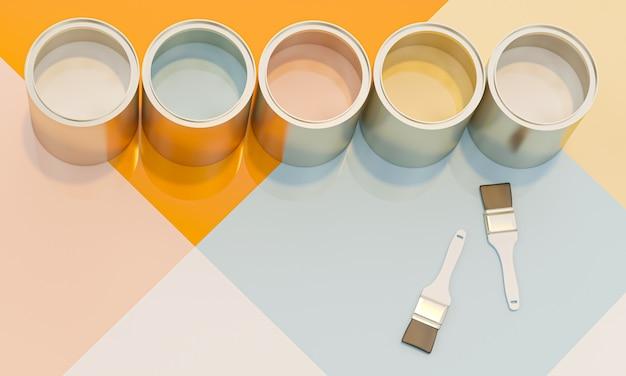 Obraz 3d renderowanie serii otwartych samochodów zawierających różne kolory