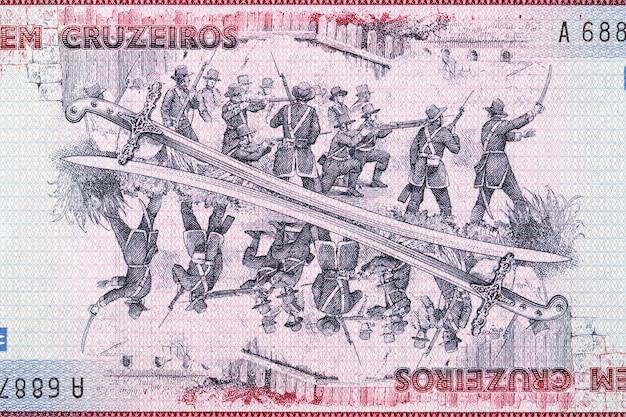 Obraz bitwy ze starych brazylijskich pieniędzy