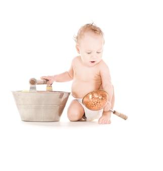 Obraz chłopca z wanną i gałką na białym
