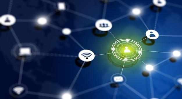 Obraz dof bezprzewodowej sieci komunikacyjnej z tłem mapy świata. koncepcja połączenia globalnej sieci społecznej.