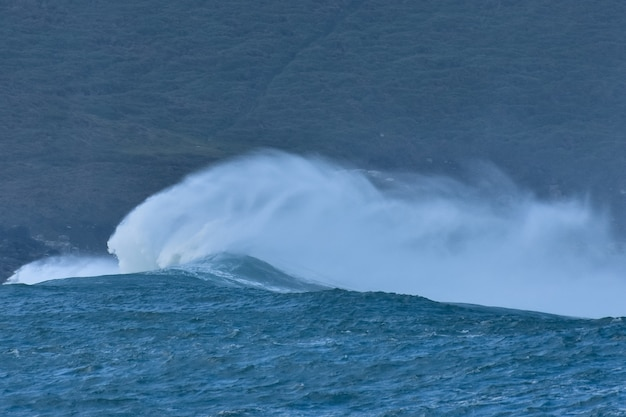 Obraz dzikiej fali oceanu rozbijającej się na brzegu