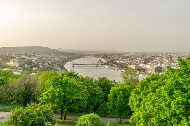 Obraz editorial: budapest elisabeth most w wieczór