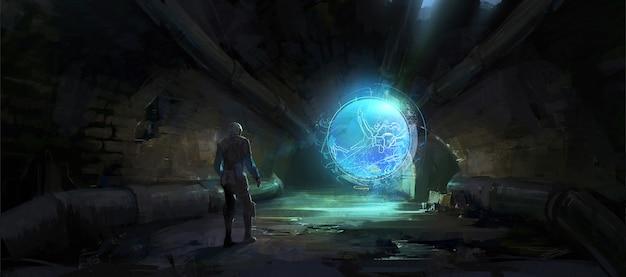Obraz holograficzny rozwinął się w ciemnym tunelu, ilustracja cyfrowa.