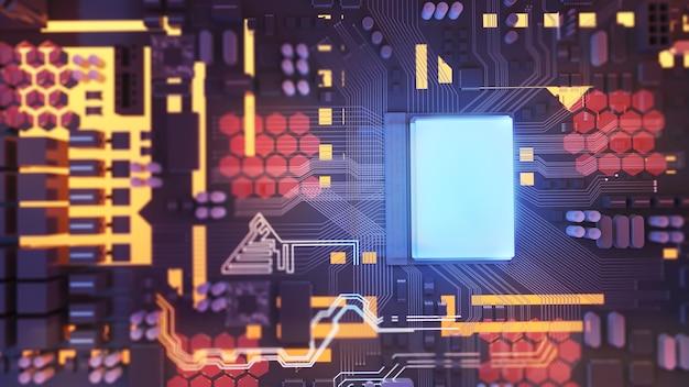 Obraz jednostki centralnejdziałająca technologia przetwarzania koncepcyjny procesor na płytce drukowanej