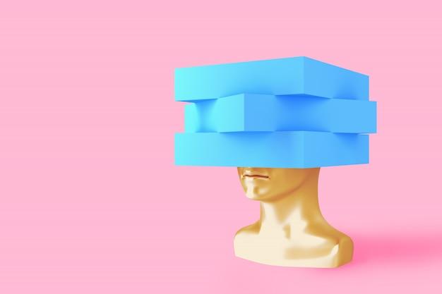 Obraz koncepcyjny kobiecej głowy z sześcianem zamiast fryzury