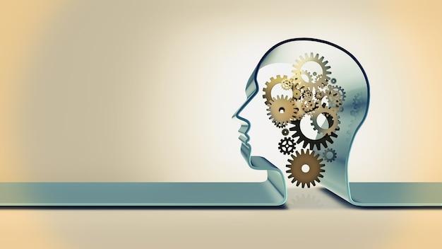 Obraz koncepcyjny z sylwetką głowy i mechanizmem przekładni wewnątrz