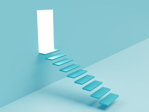 Obraz koncepcyjny ze schodami i otwartymi drzwiami ze światłem