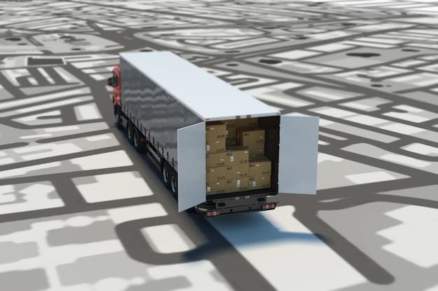 Obraz mapy ulic ze stosem zapakowanych pudełek załadowanych ciężarówką. renderowanie 3d