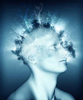 Obraz medyczny 3d przedstawiający problemy zdrowotne psychiczne