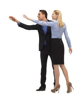 Obraz mężczyzny i kobiety co gest pozdrowienia.
