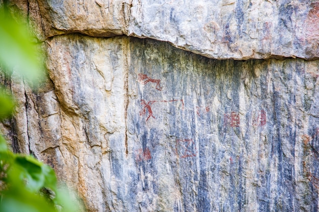 Obraz na ścianie jaskini.sztuka historyczna. historia starożytna. epoka. archeologia