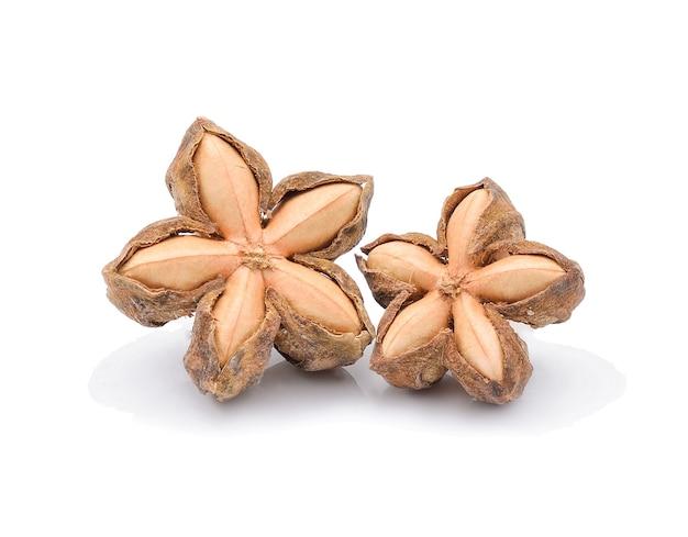 Obraz nasion orzeszków ziemnych sacha inchi na białym tle
