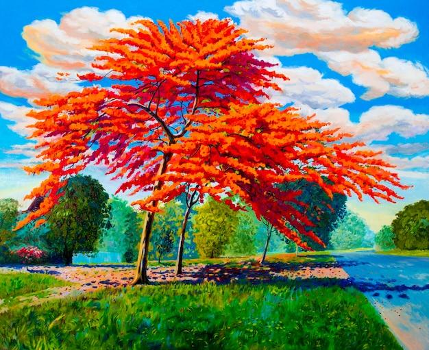 Obraz olejny pejzaż oryginalny czerwono-pomarańczowy kolor pawi o poranku. ręcznie malowane, błękitne niebo chmury w tle, piękna przyroda lato sezon, ilustracja