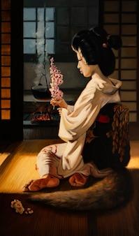 Obraz olejny portret ręcznie robiony rysunek