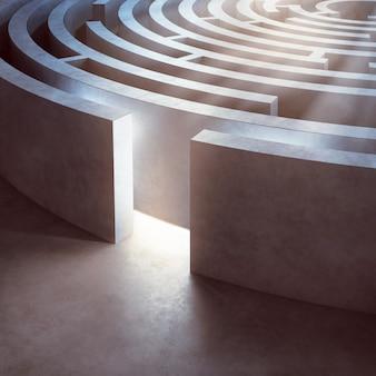 Obraz oświetlonego skomplikowanego okrągłego labiryntu