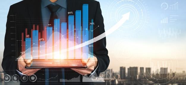 Obraz podwójnej ekspozycji wzrostu zysków biznesowych