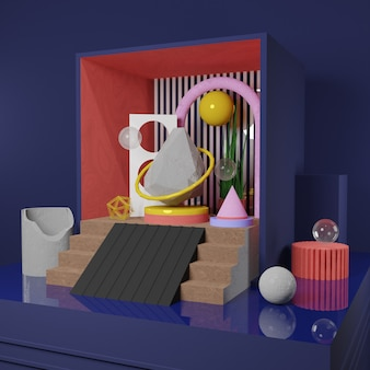 Obraz premium - zegar z kawałkami kamienia i abstrakcyjny obiekt w pudełku - renderowanie 3d dla postu w mediach społecznościowych