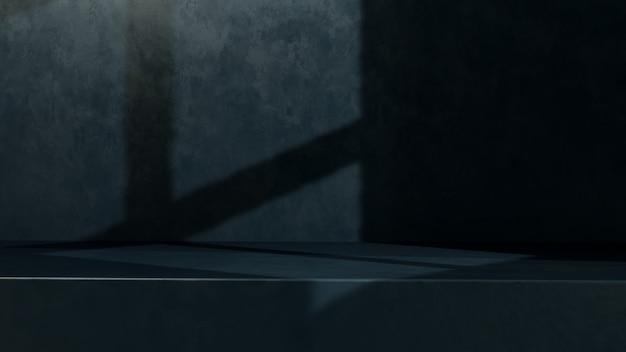 Obraz renderowania 3d pusta przestrzeń z reklamą wyświetlania produktu w jasnym i ciemnym tle w oknie