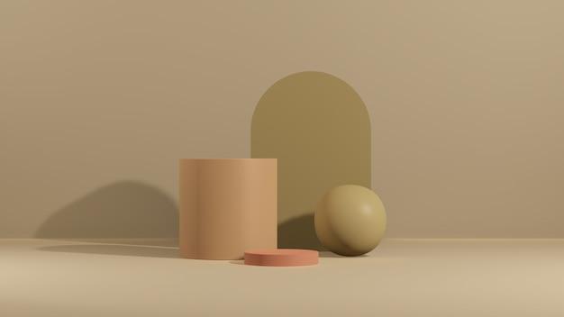 Obraz renderowania 3d różowe podium z różnymi abstrakcyjnymi kształtami i brązowym wyświetlaczem produktu w tle