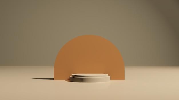 Obraz renderowania 3d złamany biały podium z reklamą wyświetlającą produkt w brązowym tle