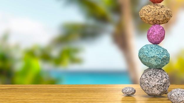 Obraz równowagi kamienia dla spa lub koncepcji renderowania 3d zen
