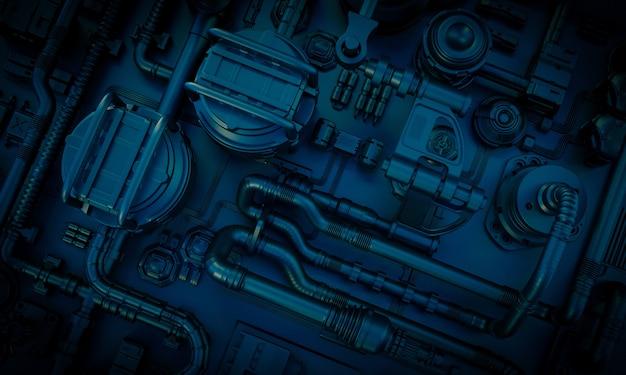 Obraz tła sci-fi z rurami i kablami w ciemnoniebieskich odcieniach. renderowania 3d