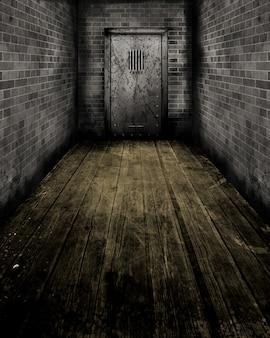 Obraz w stylu grunge korytarza prowadzącego do starych drzwi więzienia
