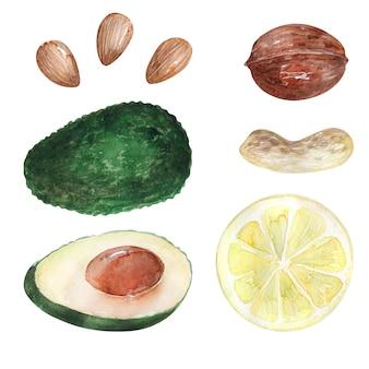 Obraz w tle akwarela zdrowych produktów spożywczych
