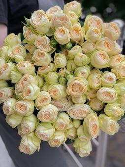 Obraz w tle naręcza delikatnych kremowobiałych róż w zbliżeniu luksusowe kwiaty