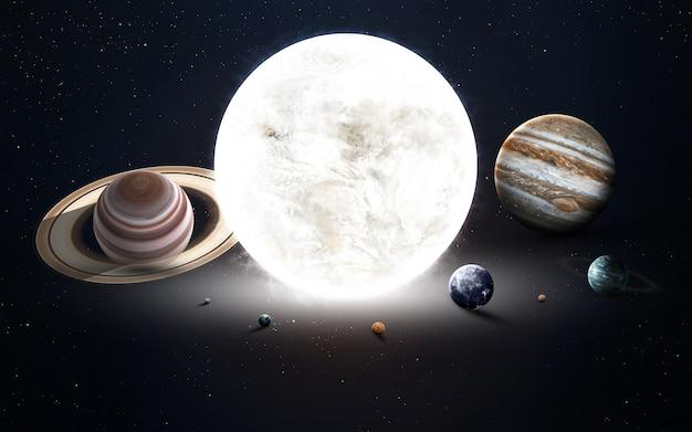 Obraz w wysokiej rozdzielczości przedstawia planety układu słonecznego. te elementy obrazu dostarczone przez nasa