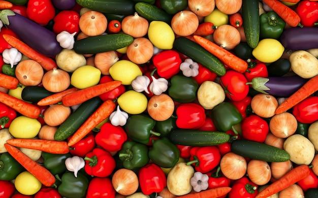 Obraz wielu warzyw na górnym aparacie abstrakcyjny element tła