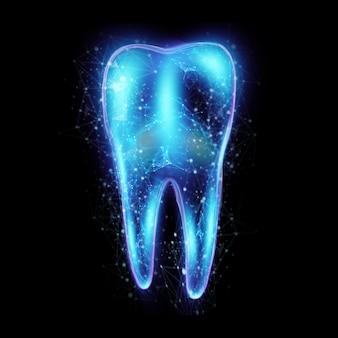Obraz zęba z neonowym hologramem