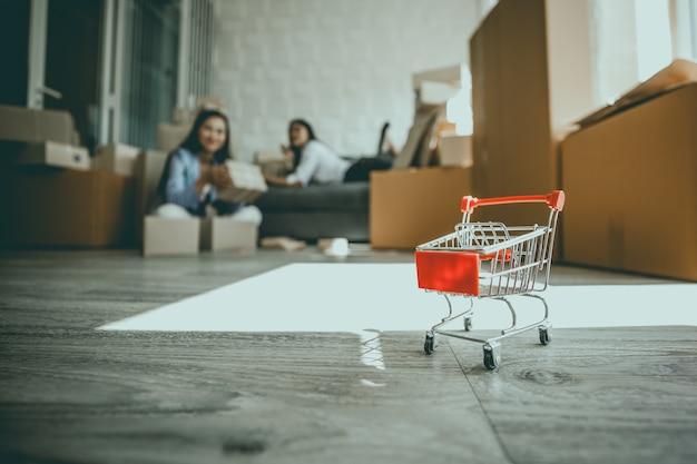 Obrazek wózek na zakupy małego biznesu pojęcie sme