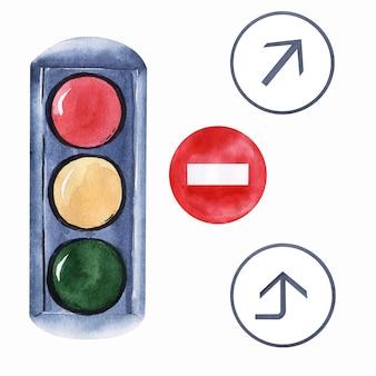 Obrazy akwarelowe na temat podróży samochodem. samochody, znaki drogowe, kamera, sygnalizacja świetlna