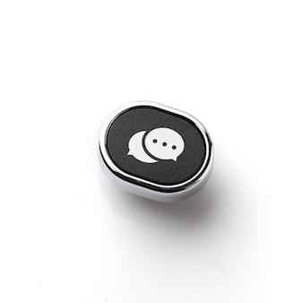 Obsługa klienta i ikona kontaktu na klawiaturze retro